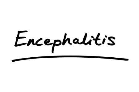 Excephalitis handwritten on a white background. Standard-Bild