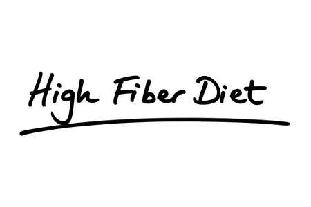 High Fiber Diet handwritten on a white background. Standard-Bild