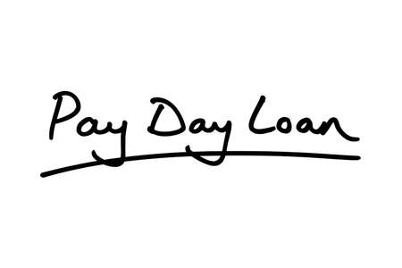 Pay Day Loans handwritten on a white background. Standard-Bild