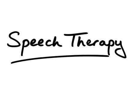 Speech Therapy handwritten on a white background.