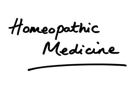Homeopathic Medicine handwritten on a white background.