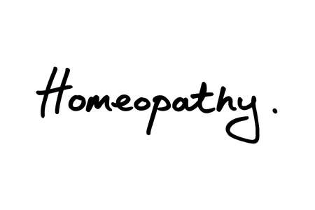 Homeopathy handwritten on a white background.
