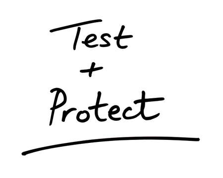 Test and Protect handwritten on a white background.