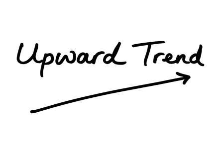 Upward Trend handwritten on a white background. 版權商用圖片