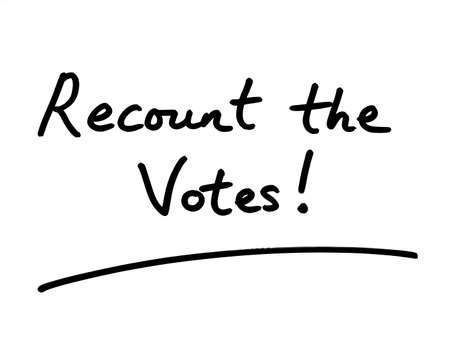 Recount the Votes! handwritten on a white background.