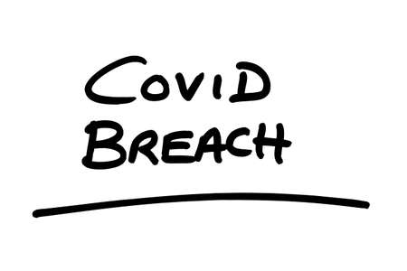 COVID BREACH handwritten on a white background. 版權商用圖片