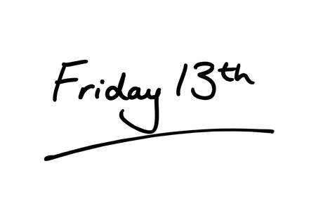 Friday 13th handwritten on a white background.