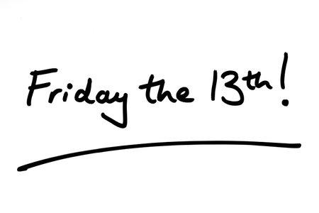 Friday the 13th! handwritten on a white background. 版權商用圖片