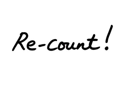 Re-count! handwritten on a white background.