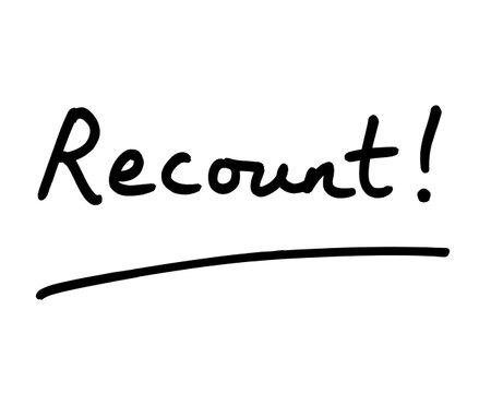 Recount! handwritten on a white background.