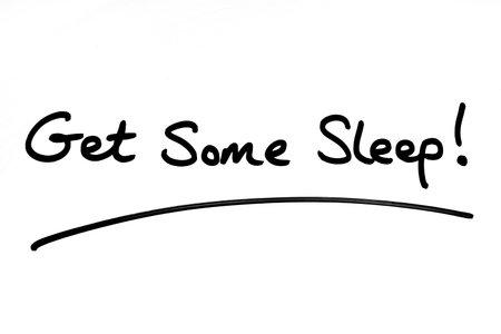 Get Some Sleep! handwritten on a white background. 版權商用圖片