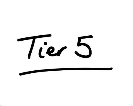 Tier 5 handwritten on a white background.