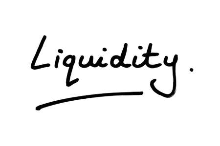 The word Liquidity handwritten on a white background.