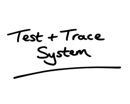 Test and Trace System handwritten on a white background.