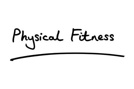 Physical Fitness handwritten on a white background. 版權商用圖片