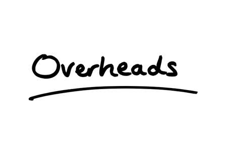 The word Overheads handwritten on a white background.