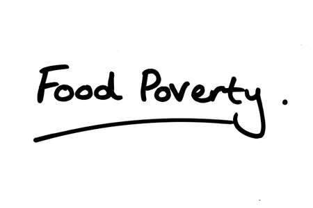 Food Poverty handwritten on a white background.