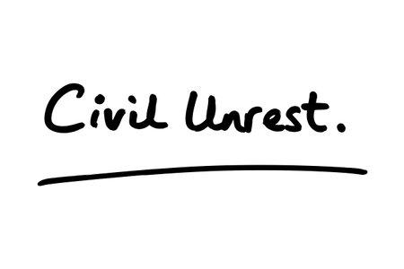 Civil Unrest handwritten on a white background. 版權商用圖片