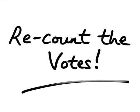 Re-count the Votes! handwritten on a white background.