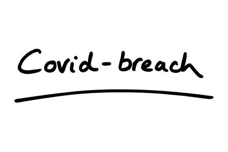 Covid-Breach handwritten on a white background.