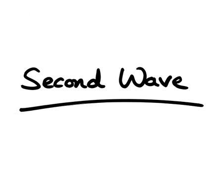 Second Wave handwritten on a white background. 版權商用圖片