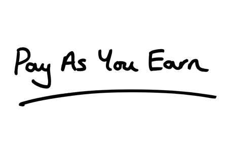 Pay As You Earn handwritten on a white background.