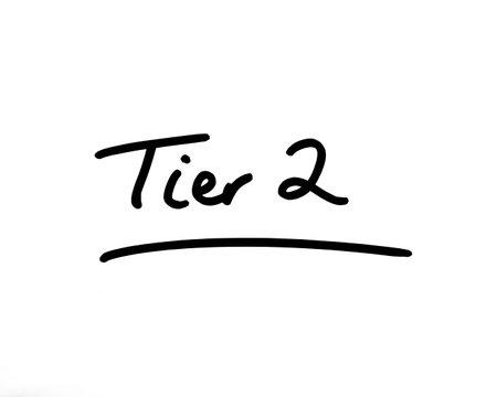 Tier 2 handwritten on a white background.