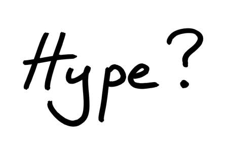 The word Hype? hnadwritten on a white background.