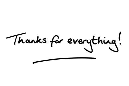 Thanks for everything! handwritten on a white background.