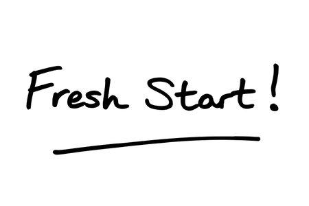 Fresh Start! handwritten on a white background.