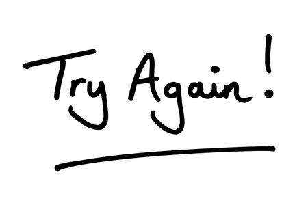 Try Again! handwritten on a white background. Standard-Bild