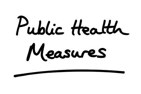 Public Health Measures, handwritten on a white background. Standard-Bild