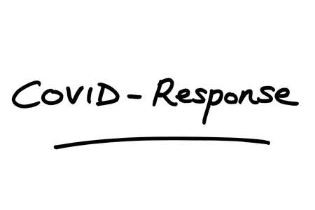 COVID-Response, handwritten on a white background.