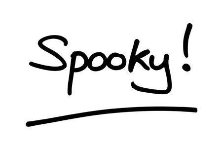 The word Spooky! handwritten on a white background. Standard-Bild
