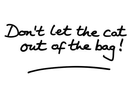 Dont let the cat out of the bag! handwritten on a white background.