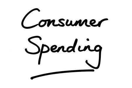 Consumer Spending, handwritten on a white background.