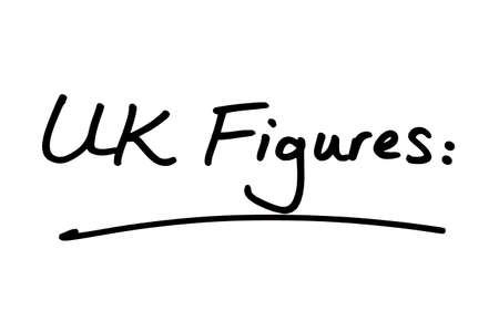UK Figures heading, handwritten on a white background. Standard-Bild