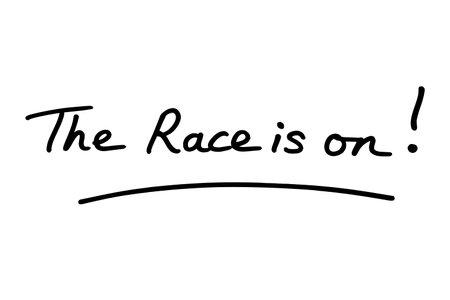 The Race is on! handwritten on a white background. Standard-Bild