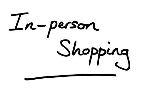 In-Person Shopping, handwritten on a white background. Standard-Bild
