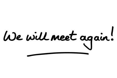 We will meet again! handwritten on a white background.