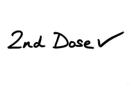 2nd Dose with a Tick, handwritten on a white background.