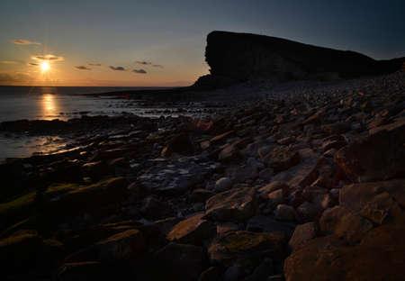 Nash Point at sunset Stock Photo