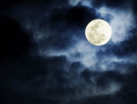 nuit hiver: Full Moon Banque d'images