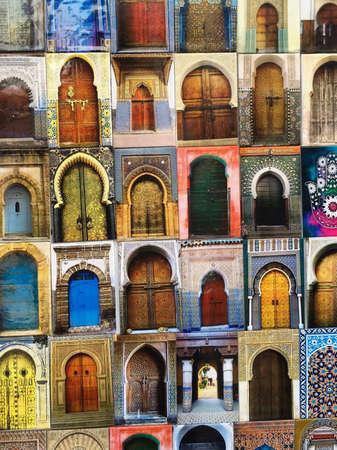 Close up of fridge magnets showing doorways, Essaouira, Morocco