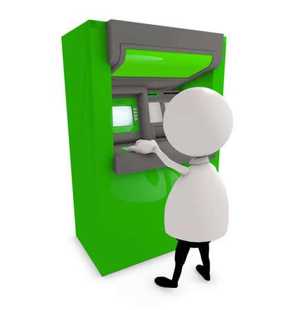 atm: 3d human infront bank atm