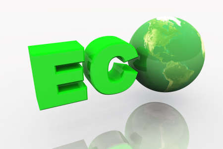 enviroment: ECO 3d render of green earth