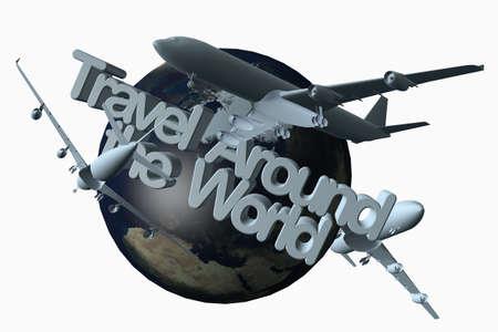 Viajar alrededor de la ilustración mundial en 3D con aviones.