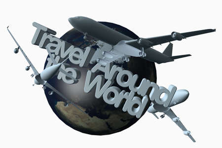 fly around: Travel around the world 3D illustration with airplanes.