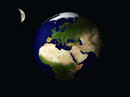 Earth and moon 3D render photo