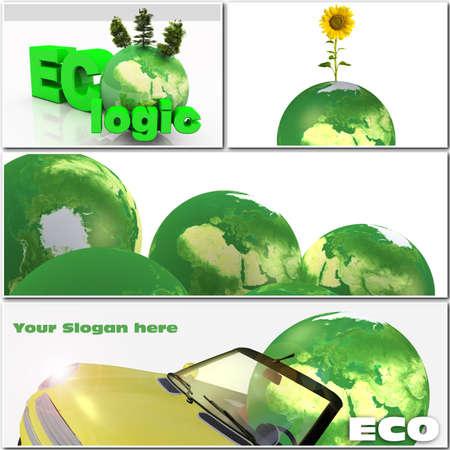 Ecological 3d illustration collage illustration